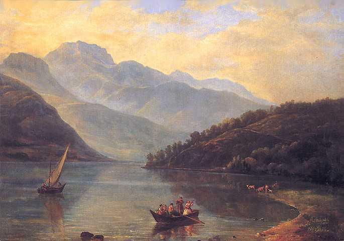Paysage du lac d'Annecy peint par Prosper Dunant