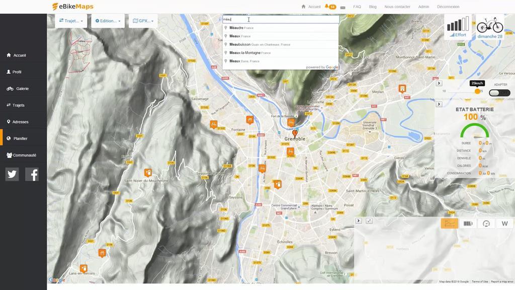 eBikeMaps propose un planificateur d'itinéraires
