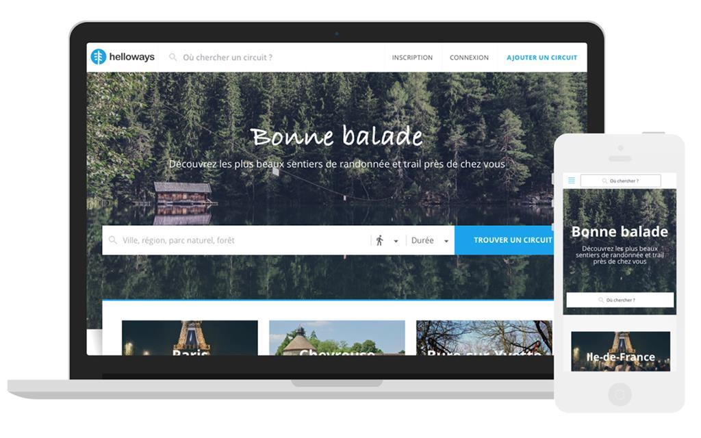 La plateforme Helloways est disponible sur web et mobile avec des randonnées autour de Paris, pour le moment