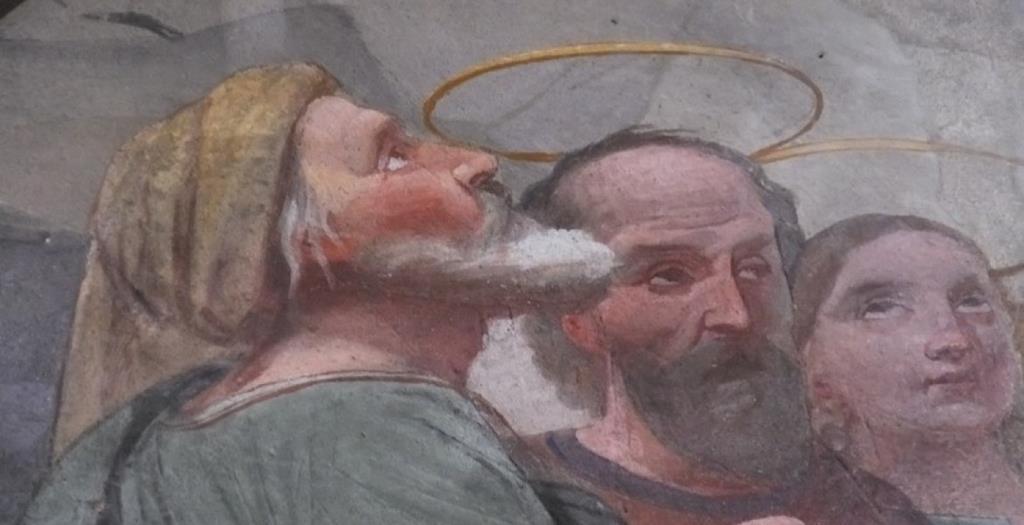 Détail d'une peinture murale de chapelle à Rumilly par Laurent Baud